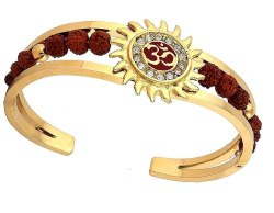 Zircon Studded Om Cuff Bangle Gold Plated