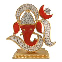 Gold Plated Ganesha Embedded in OM look Car Dashboard Statue