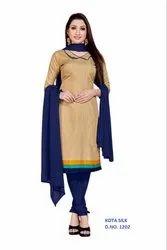 Female Printed Beige Checks Kota Silk Uniform Dress Material