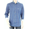 Cotton Men Blue Printed Casual Shirt