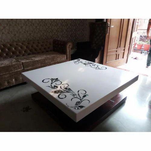 Rectangular White Corian Center Table