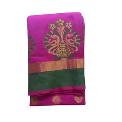 Pink Base Party Wear Stylish Cotton Saree