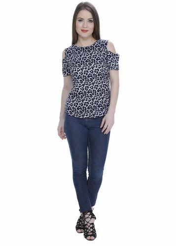 b9db40996514b9 Smtih William Black Cold Shoulder Leopard Print Top, Size: S, M, L ...