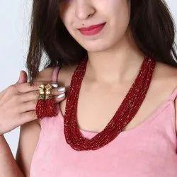 Glass Assorted Multilayer Beaded Designer Necklace Set