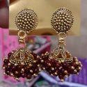 Maroon Traditional Fancy Earrings