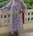 Women Bathrobe Casual Cotton Printed Intimates Nightgown Long Kimono Dress