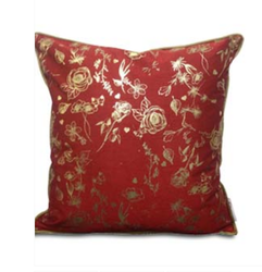 Double Sided Maroon Gold Roses Cushion Cover