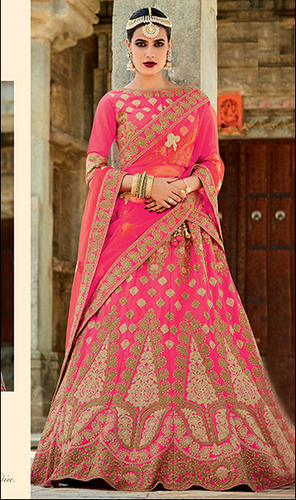 f9c3c9452a Wedding Wear BANARASI SILK Pink And Red Color Silk Embroidered Designer Lehenga  Choli