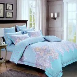 Sky Blue Printed Double Bed Sheet