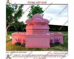 Bold And Heavy pink sandstone Garden Stone Fountain