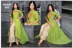 Indo Western Parrot green Sp Party Wear Dress