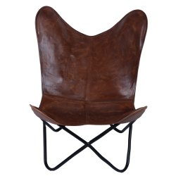 Genuine Quality Leather And Chindi Butterfly Chair