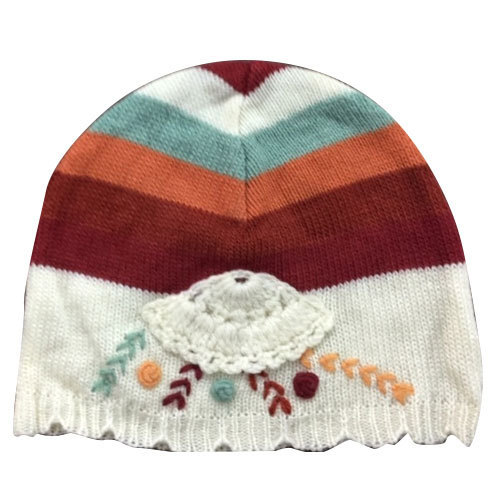 Casual Wear Printed Kids Cute Woolen Knitted Cap