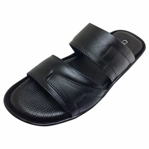 53e28796916 Leather Pu MENS BLACK SLIPPER