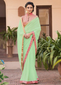 Party Wear Lace Border Work Fancy Saree