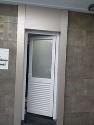 L Handle Hinged UPVC Louver Door, for Office And Residential, Interior And Exterior