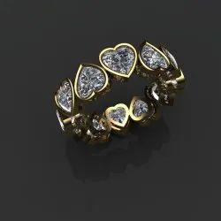 6.00 Ct Fancy Heart Shape Moissanite Wedding Band in 14k Yellow Gold