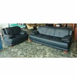 Rexine Black Modern Sofa Set