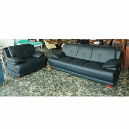 Rexine Black Modern Sofa Set