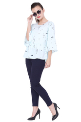 Round Neck Casual American Crepe Western Top
