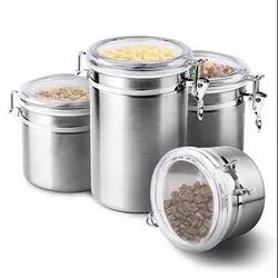 TALLIN 4-Piece Stainless Steel Airtight & Leak Proof Food Storage Container Set with Acrylic Lid