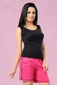 Women Black Top And Pink Shorts