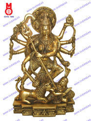 Durga Standing On Lion Statue