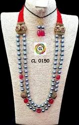 CL Jewellery Shell Pearl Crystal Antique Beads Natural Tumble Fashion Jewellery Necklace Set