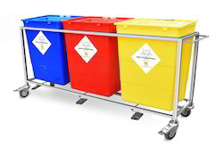 Stainless Steel Trolley With Plastic Bins