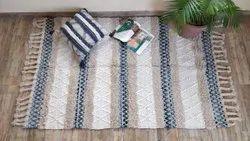 棉编织矩形桩状地毯,尺寸:4x6英尺