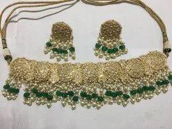 Gold Natural Uncut Diamond Polki Jadau Party Wear Necklace Set