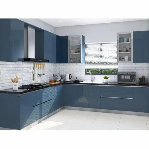 L Shape High Gloss Modular Kitchen, Warranty: 5 Years