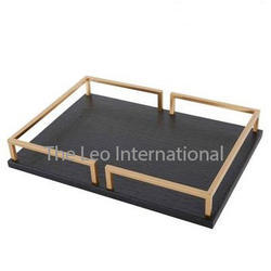 Marble base steel handle Decorative Tray