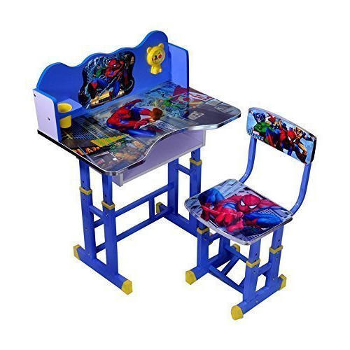 Wood And Metal Spiderman Kids Study Table And Chair