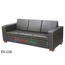 Plain Leather Three Seater Sofa