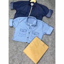 Plain Collar Neck Men's Denim Shirt