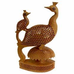 Wooden Undercut Work Peacock Sculpture