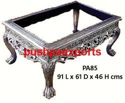 Silver Carved Wooden Center Table