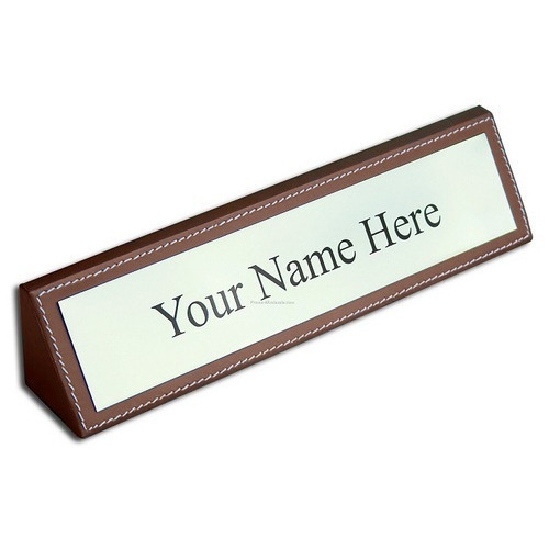 brown white rectangular table top name plate board rs 50 square