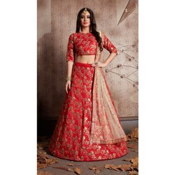 Semi Stitched Ladies Silk Red Lehenga, Packaging Type: Packet