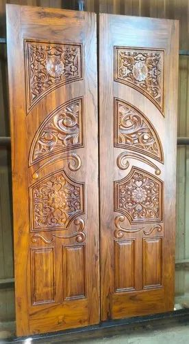 Exterior Hinged Carved Teak Wood Doors