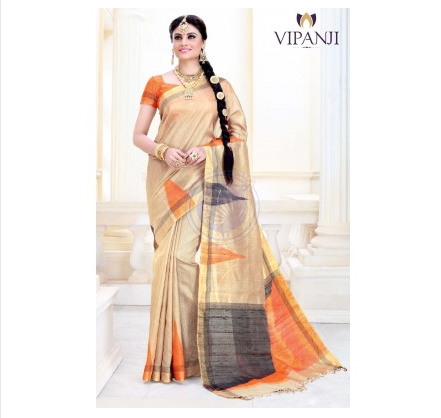 e16d0372b Sandal Color Jute Silk Saree VJSS8022