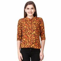 Orange Flower Design Tops