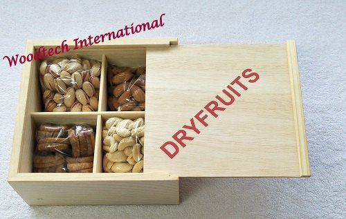 Wooden Dryfruit Box With 4 Compartments