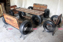 Brown Jangid Art & Crafts Vintage Reproduction Reclaimed Wood Wheel Sofa Set