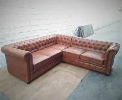 Rustic Green Tan Leather Corner Sofa, For Home