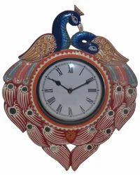 Shree Majisa Handicraft Wooden Multicolor Hand Painted Peacock Shape Wall Analog Clock