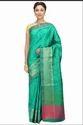 Hand Woven Green Banarasi Dupion Pure Silk Sarees, 6 M (with Blouse Piece)