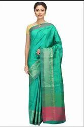 Hand Woven Green Banarasi Dupion Pure Silk Sarees