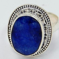 Blue Sapphire 92.5 Sterling Silver India Rings Jewelry